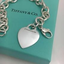 "7.75"" Tiffany & Co Silver Blank Heart Tag Charm Bracelet with Tiffany Box - $189.00"