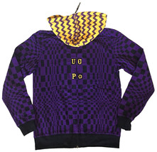 UGP Under Ground Products DIY Men's Purple Yellow Checkered Zip Up Hoodie NWT image 2