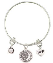 BFF Best Friends Love You To The Moon Silver Wire Adjustable Bracelet Jewelry
