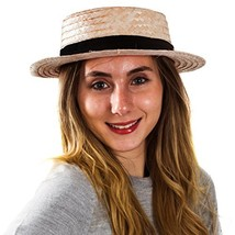 Tigerdoe Skimmer Hat – Amish Hat, Boater, Straw Hat, Sailor, Roaring 20'... - $15.19