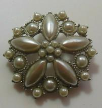 Vintage Silver-tone Faux Pearl Floral Brooch - $18.32