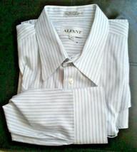 ALFANI Mens Dress Shirt 100% Cotton 16-1/2 32-33 Striped White/Blue Butt... - $19.95