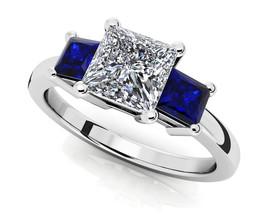 14K White Gold Fn 1.23 Ct Princess Cut Sapphire & Sim Three Stone Engagm... - $102.99