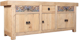 92''L CARVED GOTHIC ANTIQUE OLD WORLD PINE SIDEBOARD BUFFET - $2,965.05