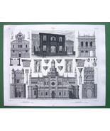 ITALY Renaissance Churches Venice Pavia Naples - SUPERB Antique Print - $9.45