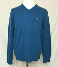 Polo Ralph Lauren Mens XL 100% Lambswool Sweater V-Neck Pullover L/S Blue - $29.99