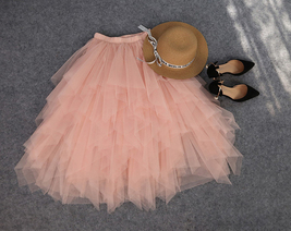 Love Me More Tulle Layered Skirt Pink High Low Long Layered Tulle Skirt Adults image 4