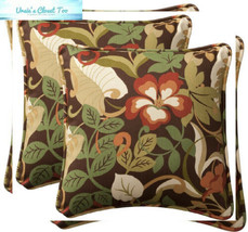 Pillow Perfect Decorative Brown/Green Tropical Toss Pillows, Square, 2-Pack - $59.90
