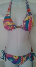 Candies Women Junior Swim Bikini 2 Pc Set Halter Reversible Top Scoop Bo... - $13.99