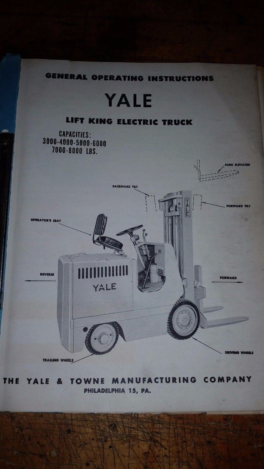 YALE Industrial Power Truck Forklift instructions and spare parts k51at-20