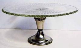 Imperial Candlewick Pedestal Cake Plate Shrewsberry Silver Base - $34.99