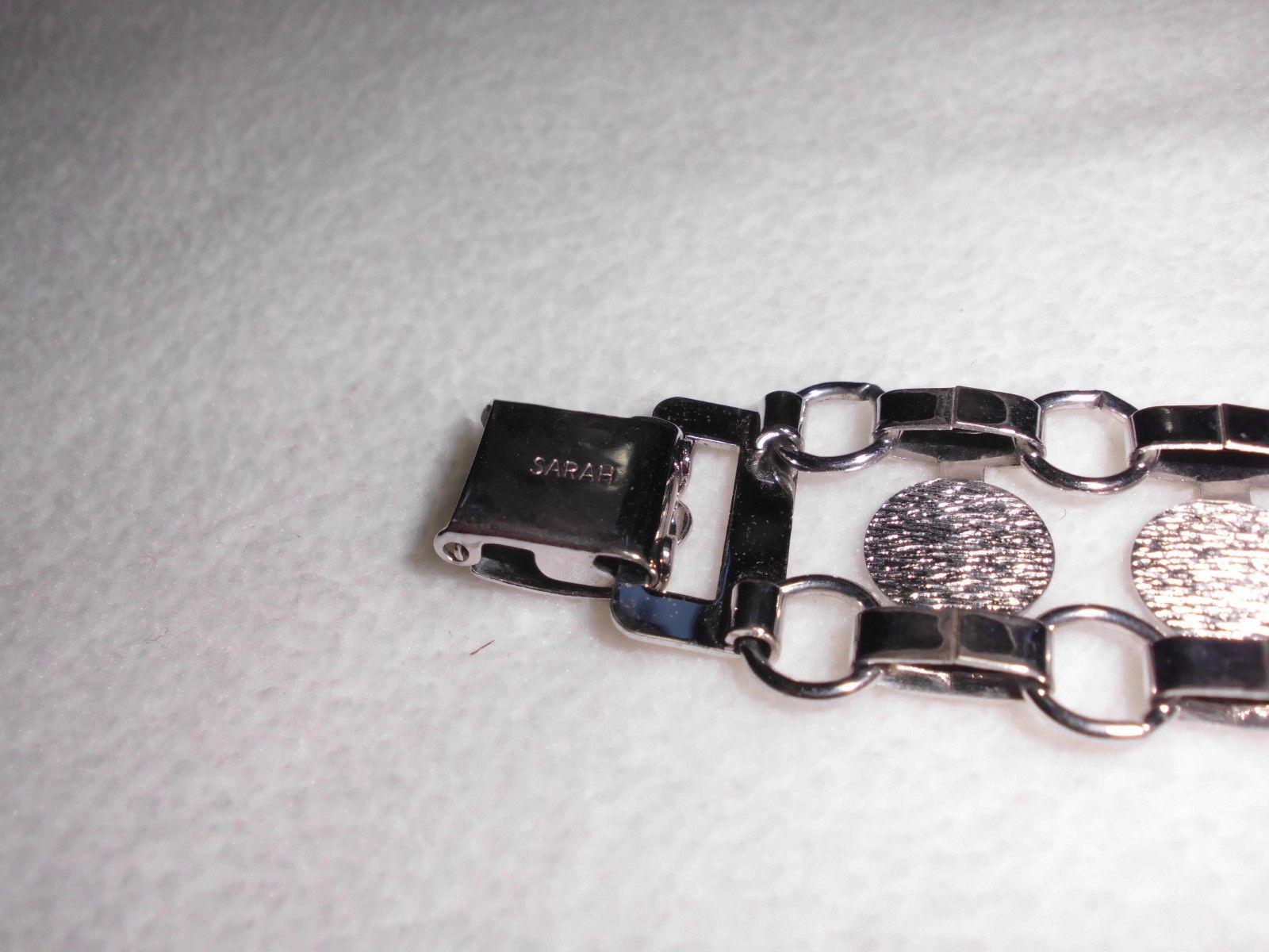 VTG SARAH Coventry Signed Silver Tone Open Work Circle Metal Bracelet