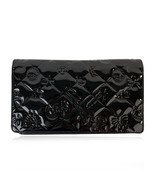 Authentic Chanel Black Quilted Patent Leather Icon Symbols Long Wallet - $579.15