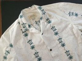 Royal Hawaiian Creations Aloha Shirt Tapa Turtles Palm Trees White Green... - $34.60