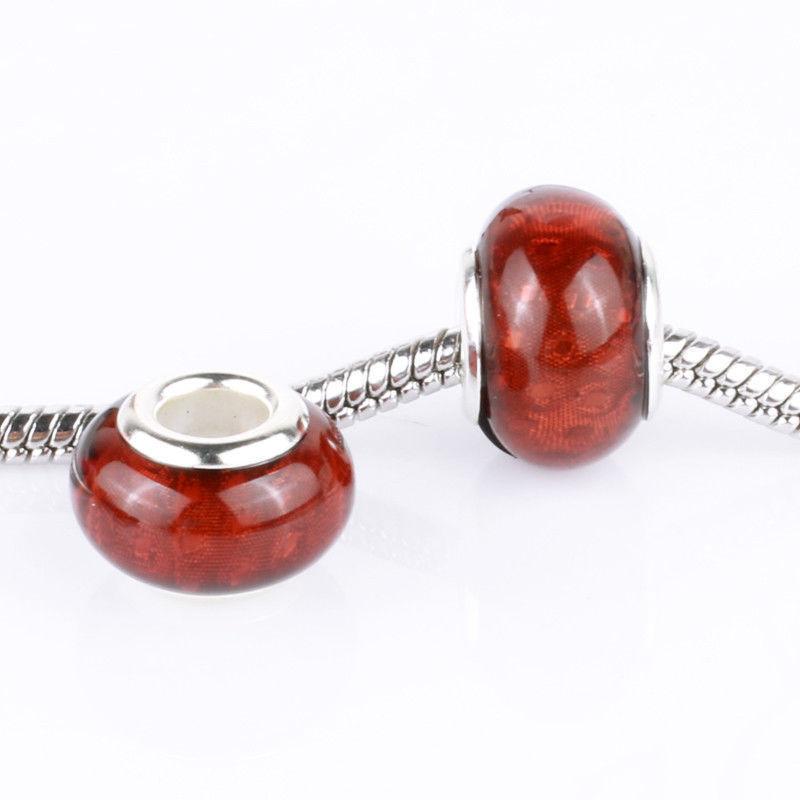 Bling Brown 5pcs MURANO bead LAMPWORK suit European Charm Bracelet