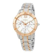 Seiko SKY692 Two Tone Rosegold Stainless White Dial Multi-Function Watch - $205.20