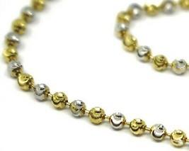 18K YELLOW WHITE GOLD BRACELET, MINI FACETED ALTERNATE BALLS SPHERES 2mm image 2