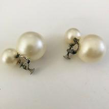 Vtg Large Double Faux Pearl Screw Back Earrings J0771 - $18.99