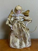 """Vintage Angel Christmas Tree Topper Ornament Table Top 8"""" Gold Dress Wit... - $15.47"""
