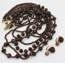 """Vintage Chocolate Brown Multi-Strand Bead Necklace 21"""" Pierced Earring D... - $19.79"""