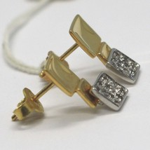 Drop Earrings White Gold Yellow 18K, Three Squares with Zircon Cubic image 2