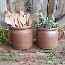 Set of Two French Antique Confit Pots. French Country Kitchen Decor, Ear... - $150.00