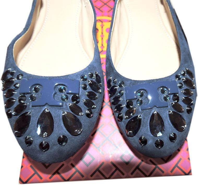 791432bc3 2371. 2371. Previous. Tory Burch Delphine Navy Suede Crystals Embellished  Ballerina Shoe Ballet Flat 7