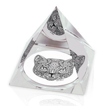 "Ornate Cat Head Illustrated Animal Art 2"" Crystal Pyramid Paperweight - $15.99"