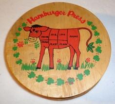 """Vintage Hamburger Press Cow Wooden Burger Press Hinged Lid 5 1/2"""" - $19.09"""