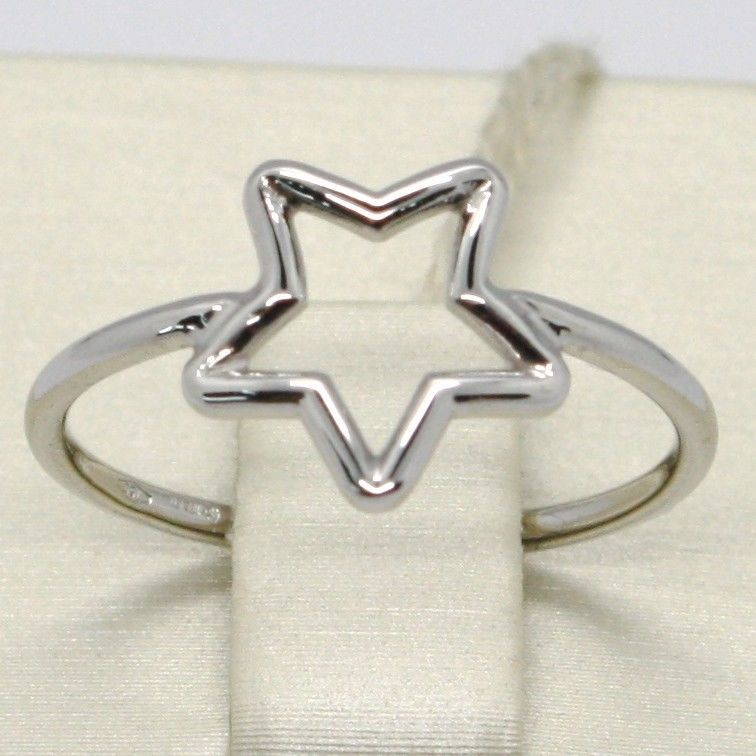18K WHITE GOLD STAR CENTRAL RING, SMOOTH, BRIGHT, LUMINOUS, BAND, MADE IN ITALY