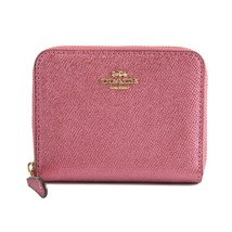 Coach Metallic Blush Crossgrain Leather Small Zip Around Wallet Bag 2944... - $93.56
