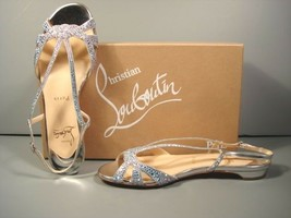 Louboutin 35.5 Lady Strass aqua rhinestones silver leather sandals flats... - $832.59