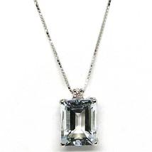 18K WHITE GOLD NECKLACE AQUAMARINE 1.95 EMERALD CUT & DIAMOND, PENDANT & CHAIN image 1