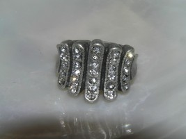 Estate Rustic Tapered Pewter SIlvertone Band with Clear Rhinestone Encru... - $11.02