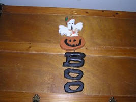 Carved Painted Wood Halloween Ghost Pumpkin BOO Wall Door Decoration  – ... - €7,48 EUR