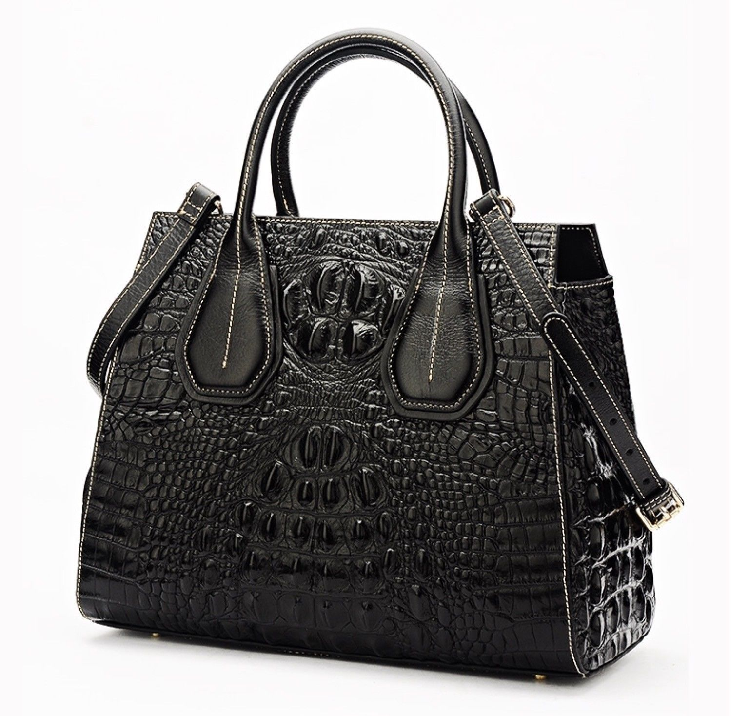 New Crocodile Embossed Italian Leather Handbag Shoulder Bag Satchel Croc Bag