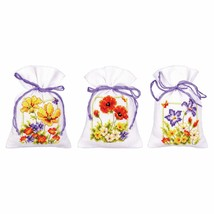 Vervaco Counted Cross Stitch Kit, Pot-Pourri Bag, Summer Flowers: Set of 3 - $39.99