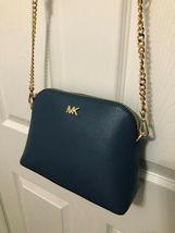 Michael Kors Mott Cindy Large Zip Dome Crossbody Bag Crossgrain Leather Chambray image 7