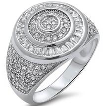 Men's Sterling Silver Heavy 3 Carat Baguette & Pave CZ Ring - $45.99