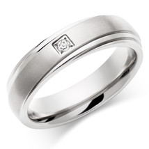 April Birthstone White Diamond Round Cut Mens Wedding Band In Solid 925 Silver - $199.99