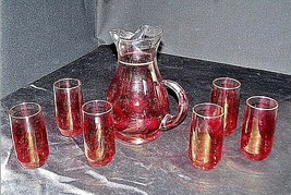 Red Opaque Pitcher with 6 Matching Glasses AA18 - 1178 Vintage image 2