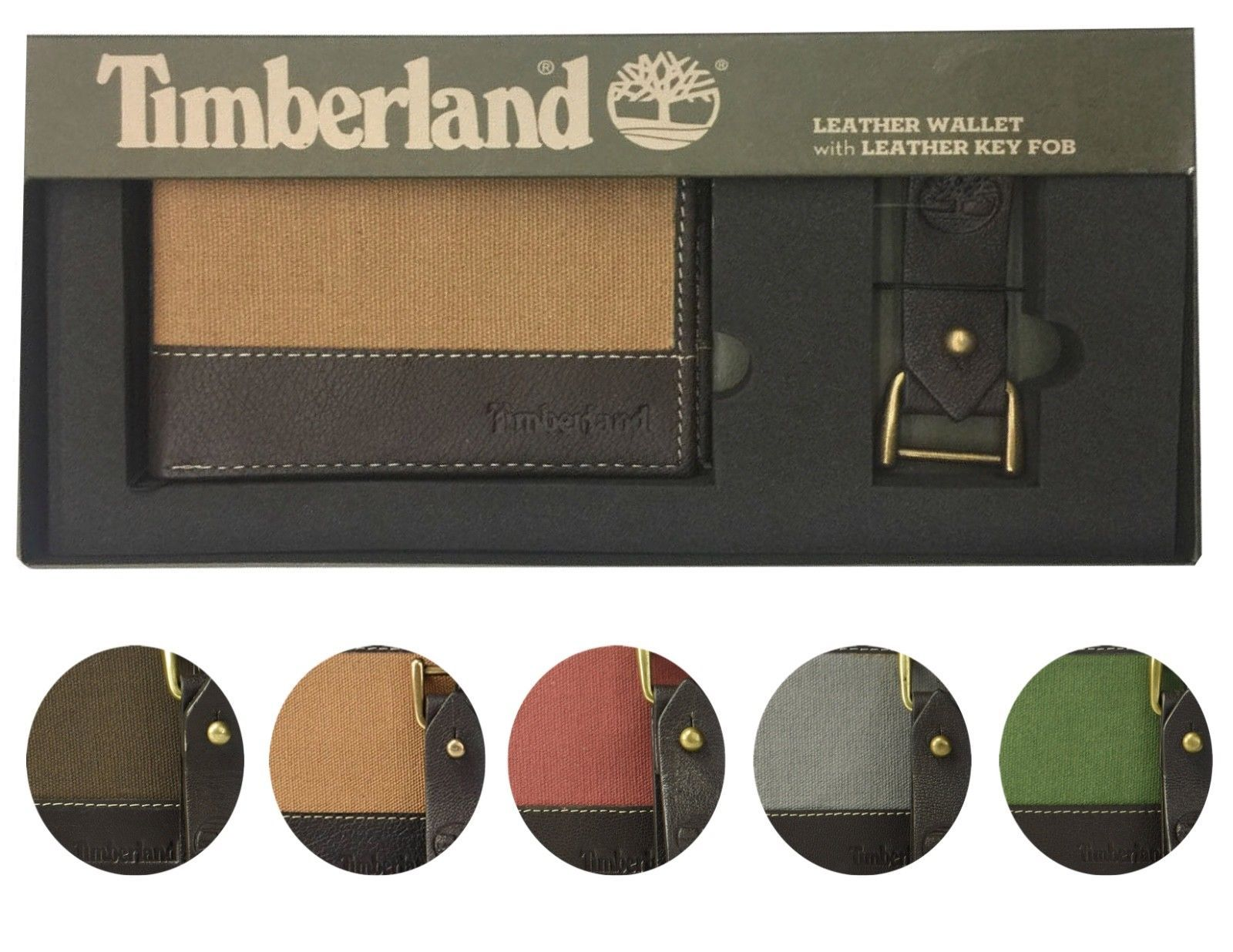 Timberland Men's Leather Credit Card ID Bifold Wallet With Key Fob Gift Box Set
