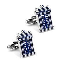 TARDIS CUFFLINKS Police Box Blue Silver Tone GIFT BAG Dr Doctor Who Sci ... - $10.88