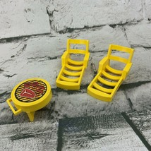 Vintage Fisher Price Little People Replacement Beach Lawn Chairs Yellow Bbq - $19.79
