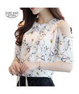 2017 Chiffon Print Blusas Floral Shirt For Womens Elegant Open Shoulder ... - $16.20