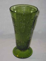 "Neat Vtg 10"" Green Indiana Glass Harvest Grape and Leaf Pattern Footed VASE - $37.19"