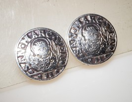 """Vintage Signed Whiting & Davis Dalma ET Alban Coin Clip on Earrings 1"""" - $13.00"""