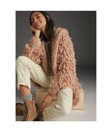 New Anthropologie Pilcro Isla Looped Faux Fur Cardigan PINK - $108.90
