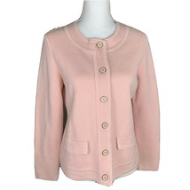 Talbots Cotton Cardigan Sweater Buttons Light Pink Size M - $14.84