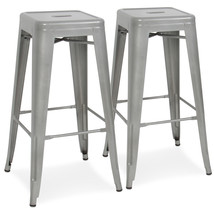 2 Modern Industrial Backless Metal Counter Height Bar Stools - $185.46